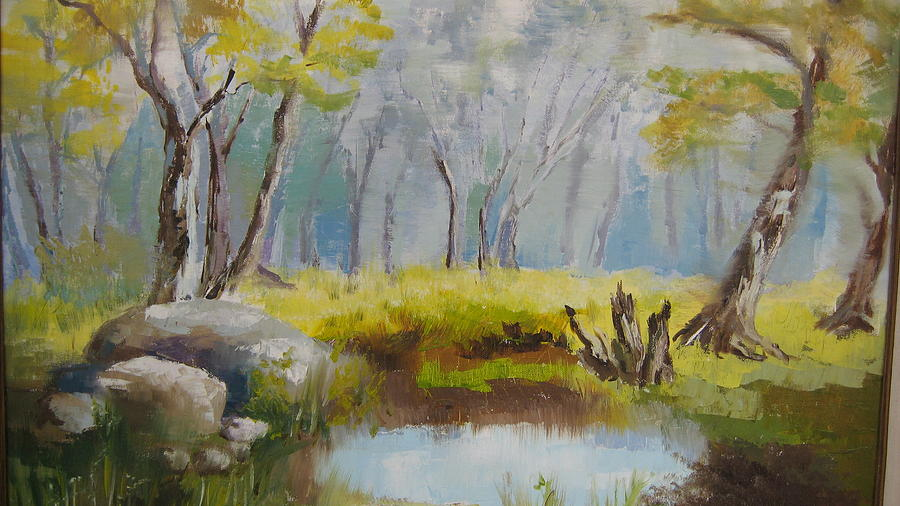 Landscape Painting - My Pond by Mabel Moyano