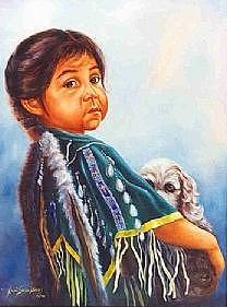 Native American Painting - My Pup by Naomi Dixon