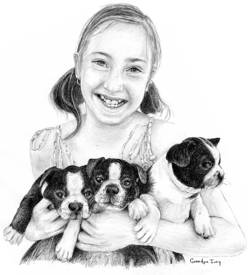 Girl Drawing - My Puppies by Mike Ivey
