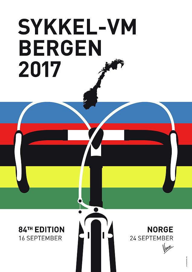 2017 Digital Art - My Road World Championships Minimal Poster 2017 by Chungkong Art