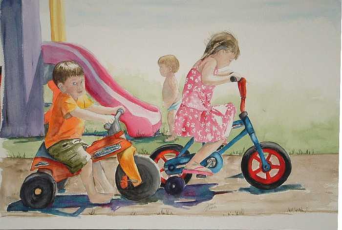 Watercolor Painting - My sisters grandkids by Diane Ziemski