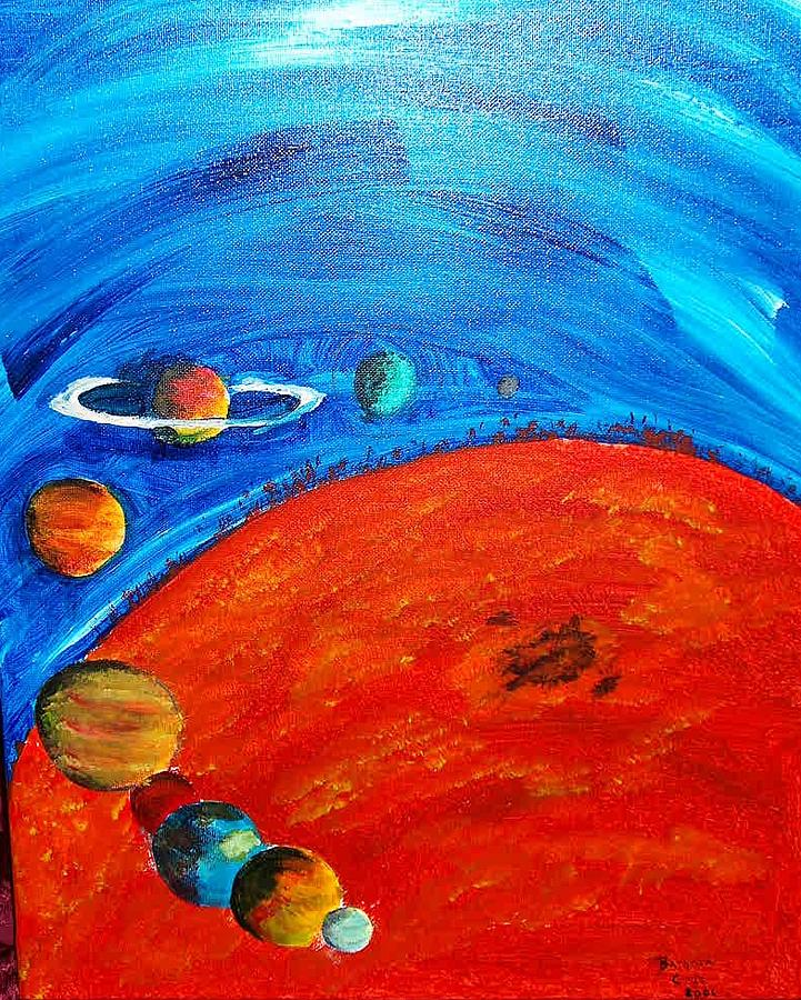 Moon Painting - My Solar System by Barbara Cruz