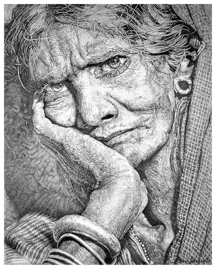 Lady Drawing - My Soul Feels Weary by Buena Johnson
