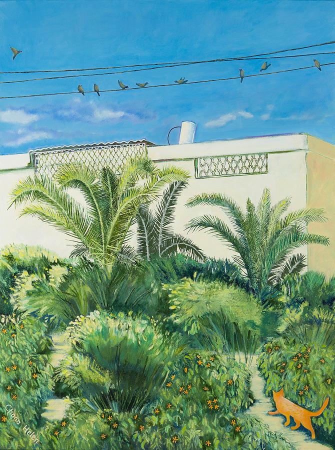 Israel Painting - My Street Orange and Blue by Chana Helen Rosenberg
