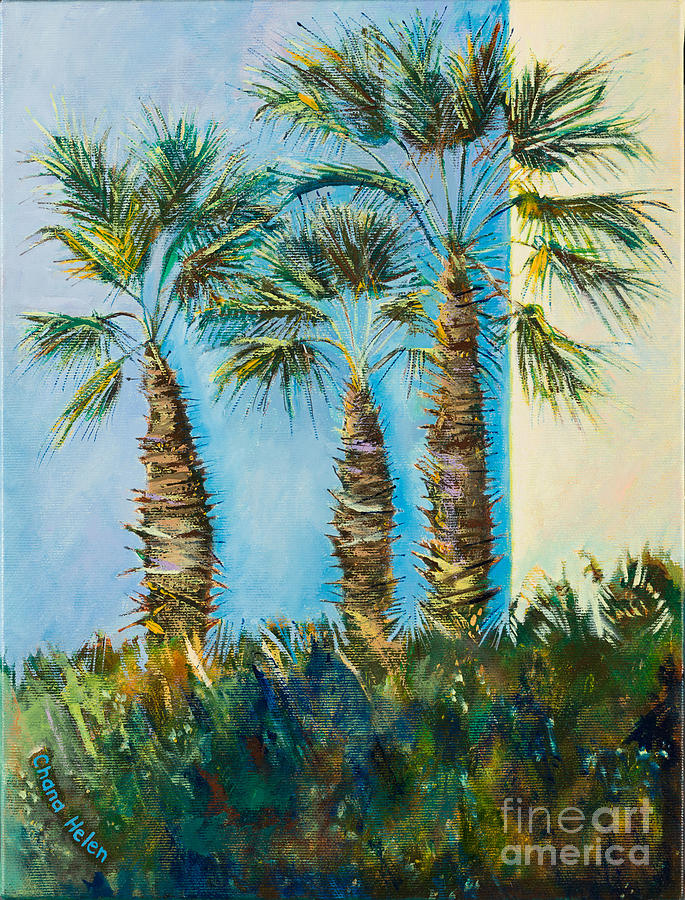 Palm Trees Painting - My Street, Three Trees by Chana Helen Rosenberg