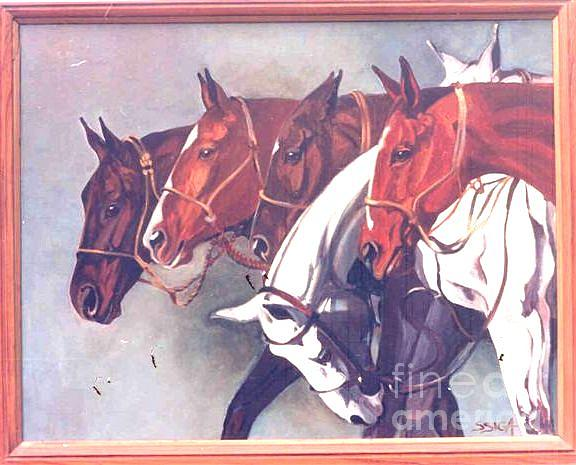 Polo Paintings Painting - my String Of Polo Ponies by Sabrina Siga