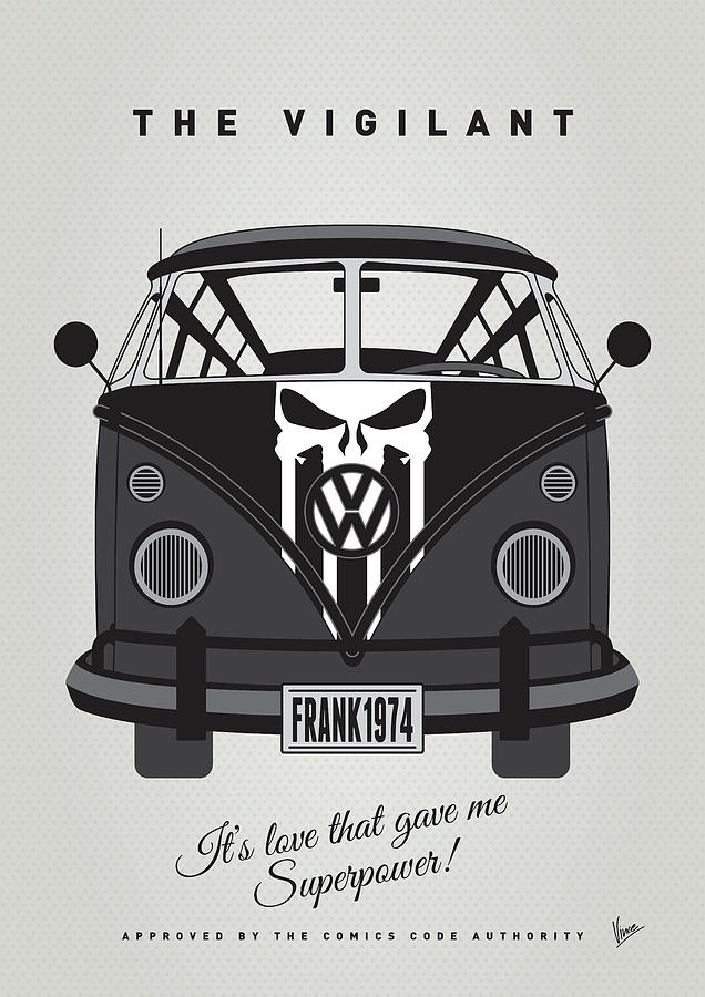 Superheroes Digital Art - My Superhero-vw-t1-punisher by Chungkong Art