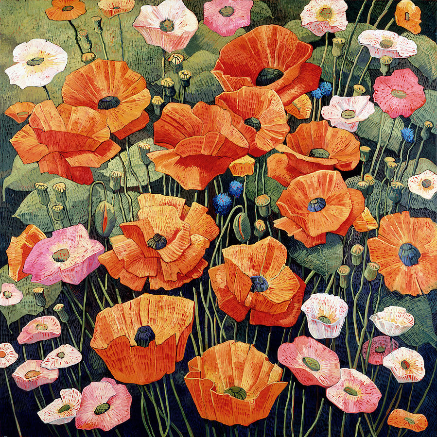 Poppies Painting - My Taos Wildflowers by Donna Clair