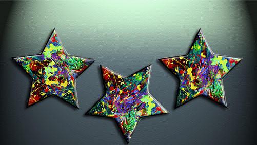 Abstract Painting - My Three Stars by Khawla ALjodar