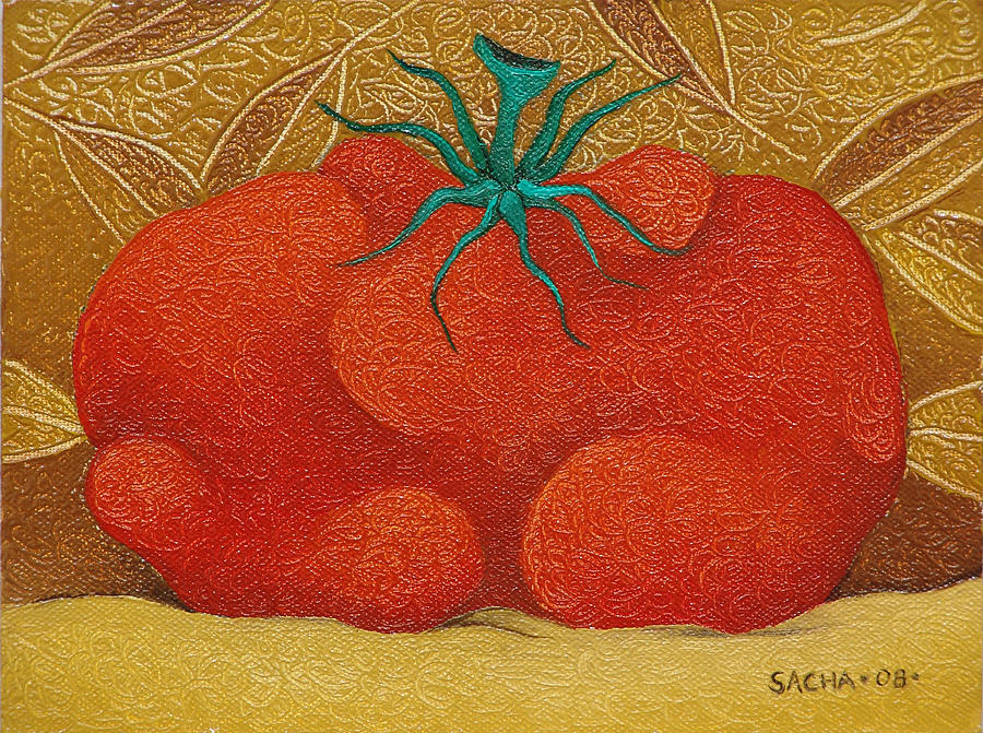 Sacha Painting - My Tomato  2008 by S A C H A -  Circulism Technique