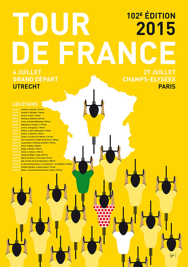 2015 Digital Art - My Tour De France Minimal Poster Etapes 2015 by Chungkong Art