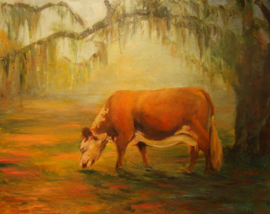 Oil Painting Painting - My Uncles Cow by Jill Holt