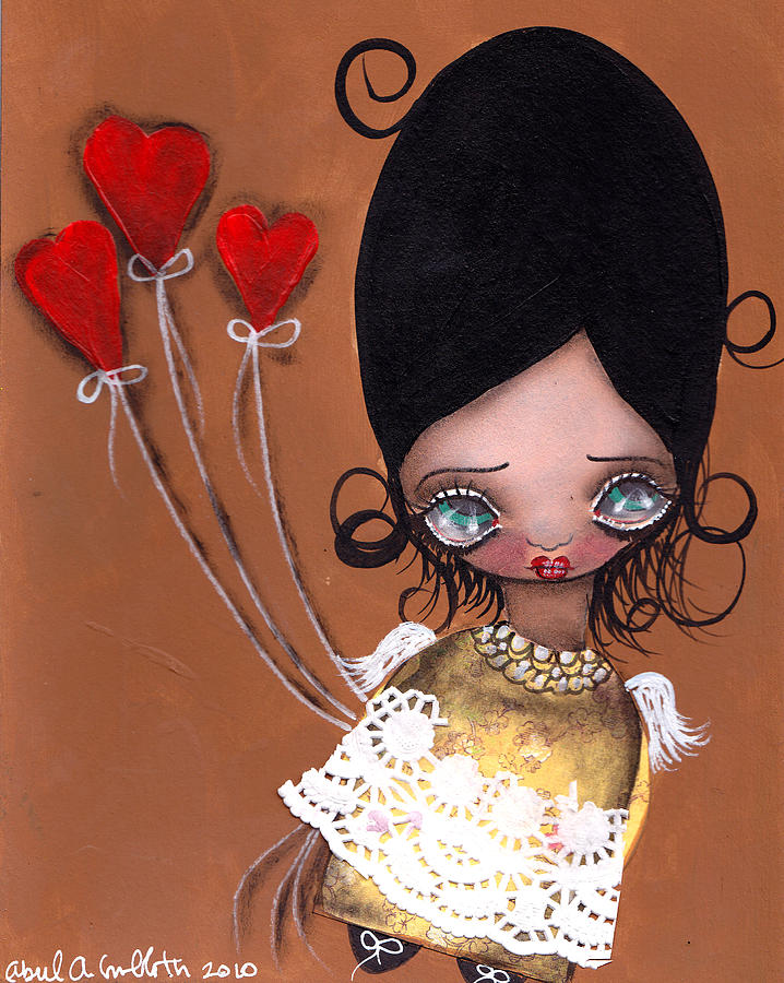 Big Eyed Girl Painting - My Valentine by  Abril Andrade Griffith