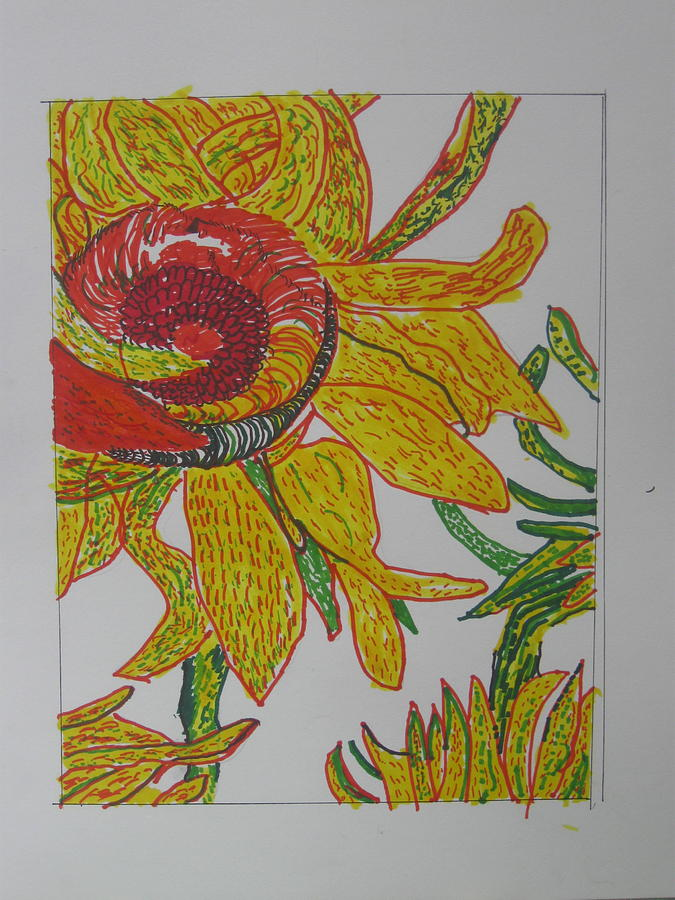 my version of a van gogh sunflower by AJ Brown