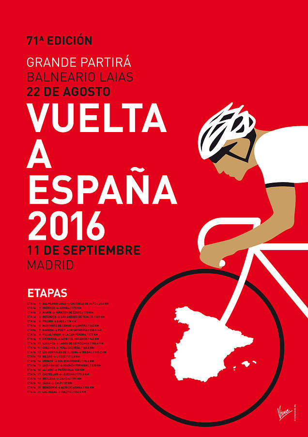 2016 Digital Art - My Vuelta A Espana Minimal Poster 2016 by Chungkong Art