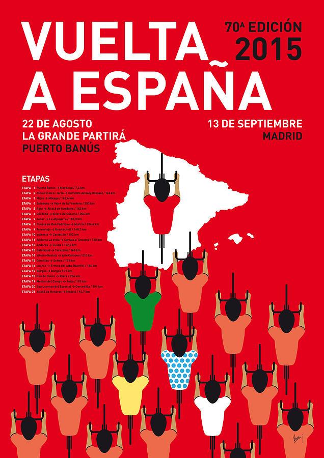 2015 Digital Art - My Vuelta A Espana Minimal Poster Etapas 2015 by Chungkong Art