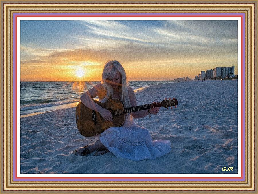 My Weeping Guitar Catus 1 No. 1 - Grave For Guitar On A Sunset Beach  L  A S  - Wdopf Digital Art