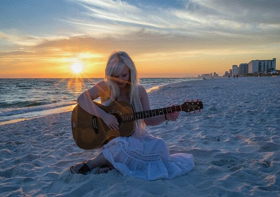 My Weeping Guitar Catus 1 No. 1 - Grave For Guitar On A Sunset Beach  L B Digital Art