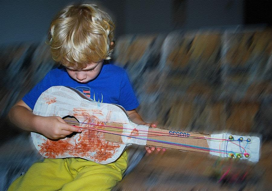 My Weeping Guitar Catus 1 No. 2 - Boy Playing With  A Homemade Toy Guitar L B Digital Art