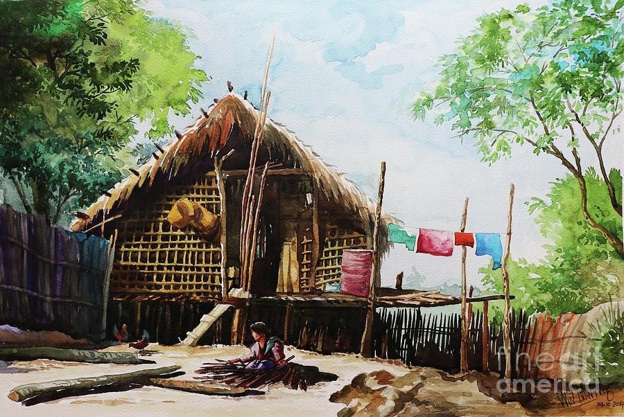 Landscape Painting - Myanmar Custom_016 by Win Min Mg