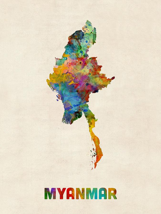 Myanmar Watercolor Map Burma Digital Art By Michael Tompsett - Map of burma