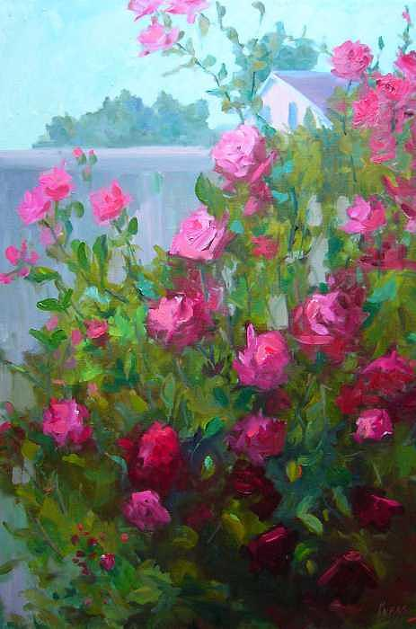 MyBack Yard Roses Painting by Patricia Kness