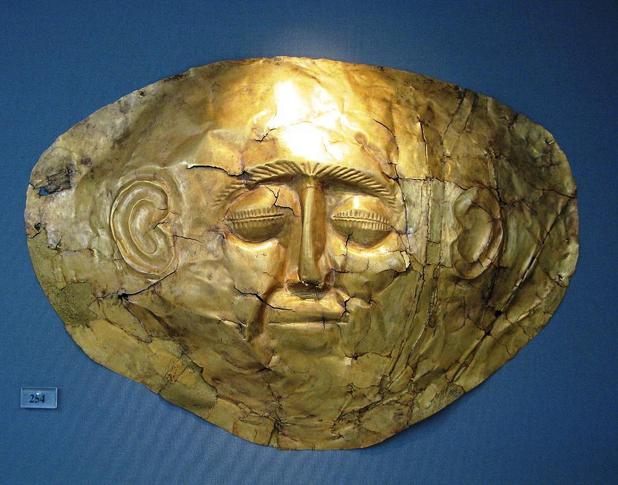 Bronze Age Photograph - Mycenaean Gold Mask by Andonis Katanos