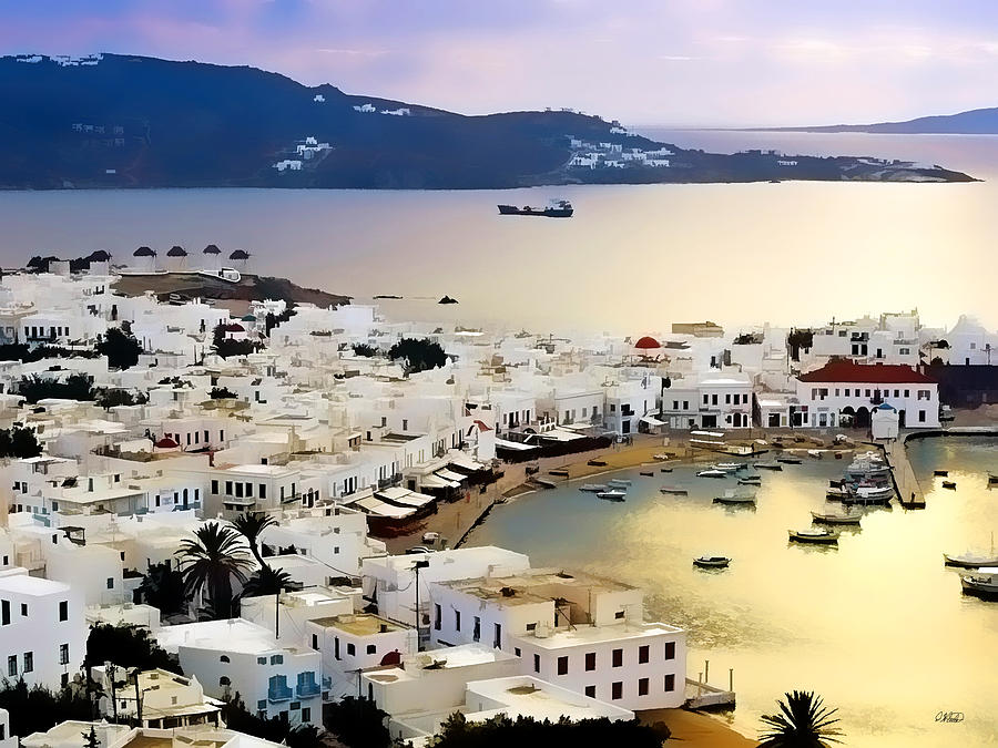 Landscape Painting - Mykonos Greece by Dean Wittle