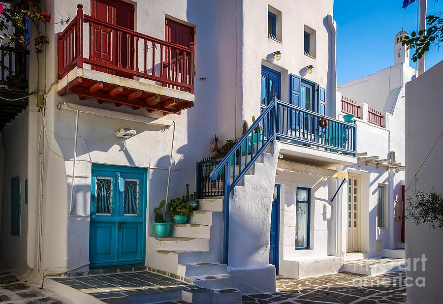 Mykonos Photograph - Mykonos Stairs And Balconies by Ken Andersen