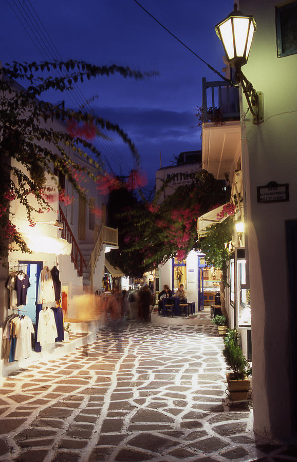 Greek Photograph - Mykonos Town At Night by Steve Outram
