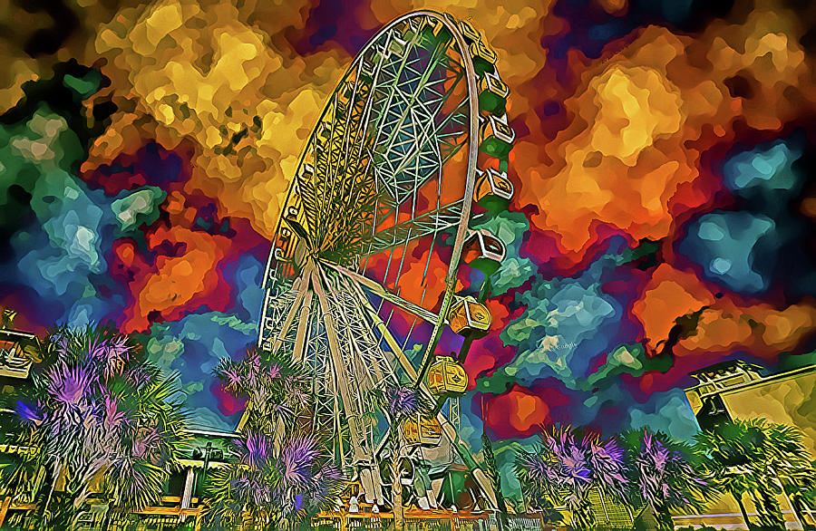 Myrtle Beach Skywheel Abstract by Bill Barber