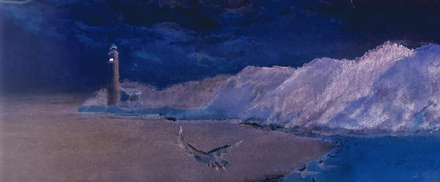 Lighthouse Mixed Media - Mysterious  by Anne-Elizabeth Whiteway