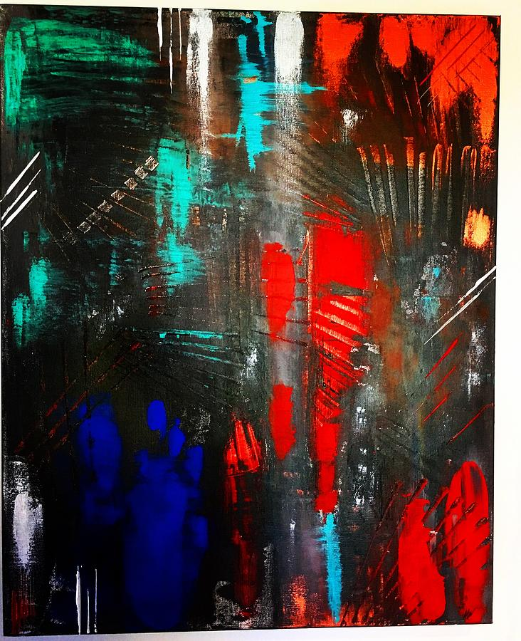 Abstract Painting - Mysterious Inferno  by Michael Walters