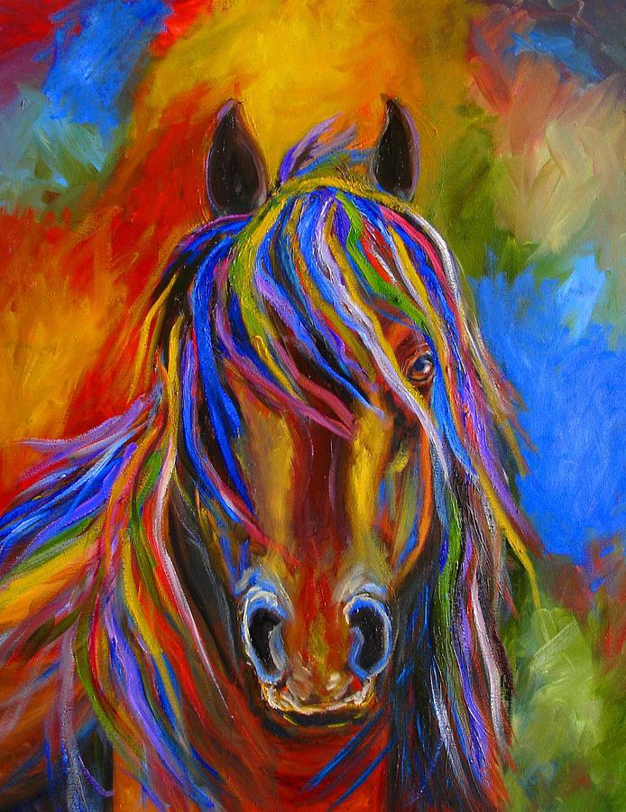 Mystery horse painting by mary jo zorad - Fine art america ...