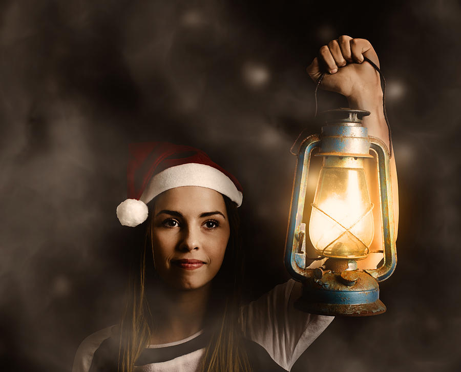 Mystery woman on a find and seek christmas journey by Jorgo Photography - Wall Art Gallery