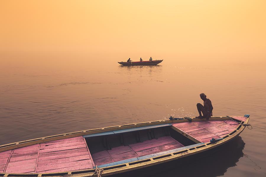 Banaras Photograph - Mystic Ganges by Marji Lang