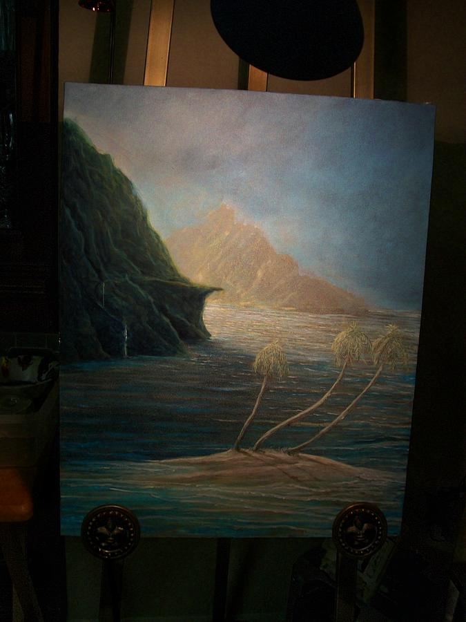 Seascape Painting - Mystic Islands by Larry Spradling