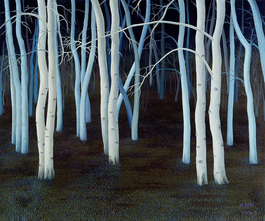 Wood; Woodland; Trees; Nocturne; Night; Tree Trunks; Luminous; White; Dark; Forest; Eyes; Atmospheric; Eerie Painting - Mystic by Magdolna Ban