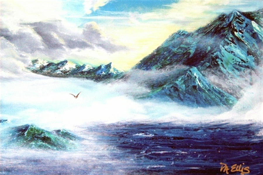 Mountains Painting - Mystic  Morning by Pam Ellis