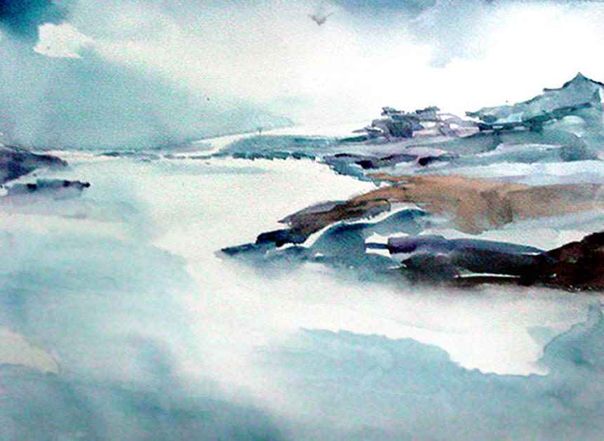 River Painting - Mystic River by Anil Nene