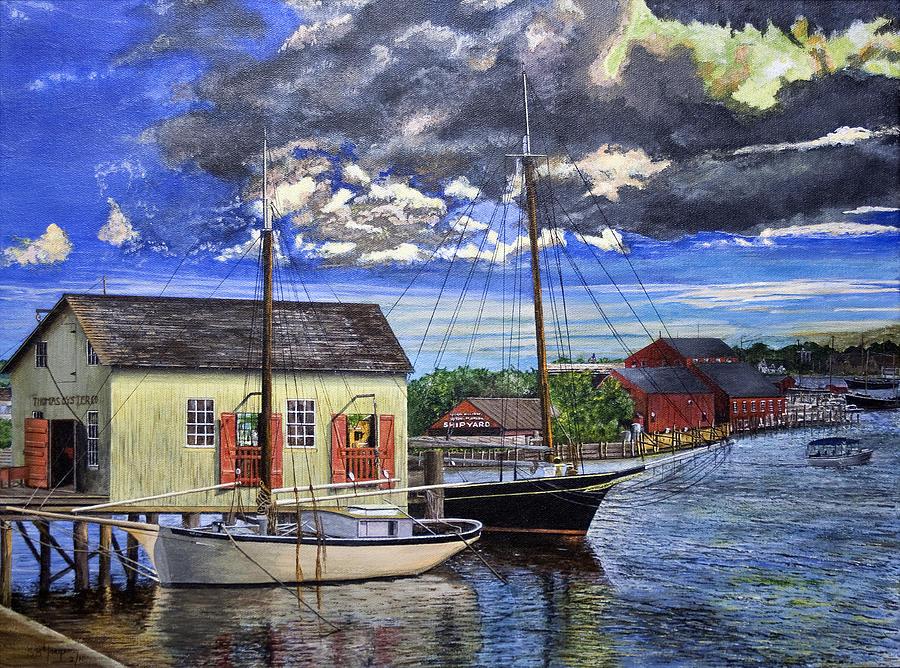 Mystic Seaport Ct Painting by Stuart B Yaeger