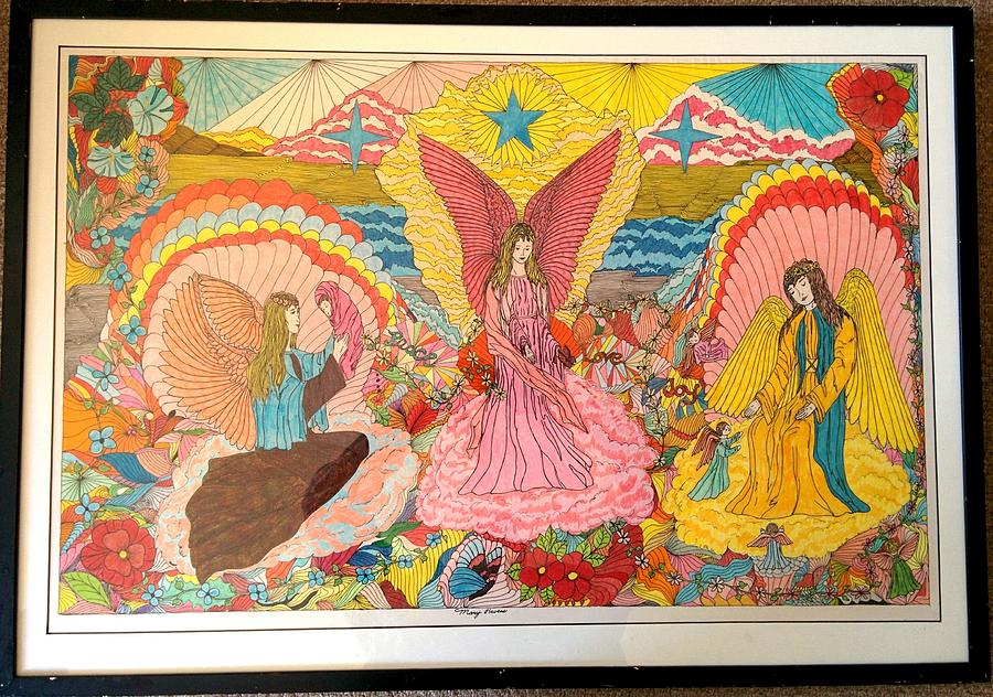 Mystical Drawing - Mystical Angels by Mary Havens