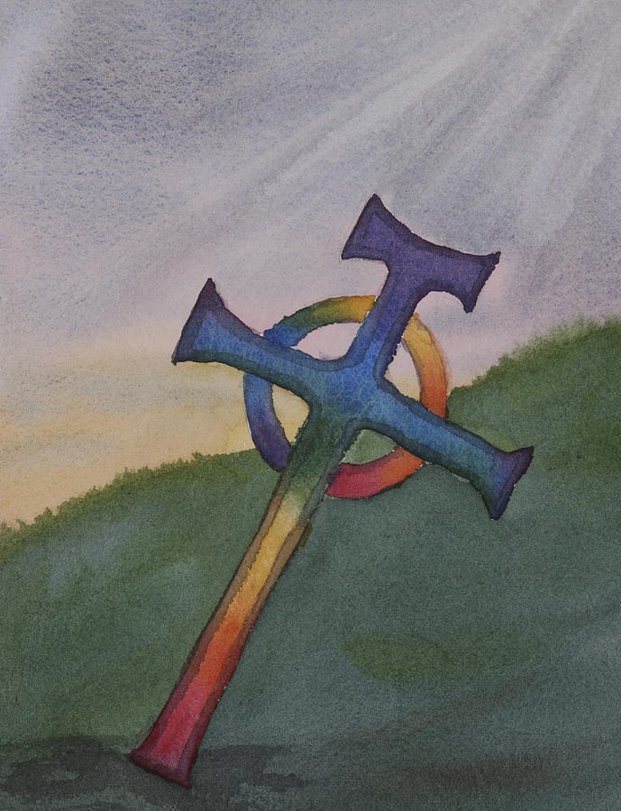 Celtic Cross Painting - Mystical Celtic Cross by Debbie Homewood