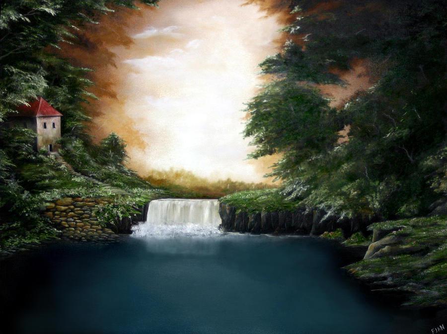 Falls Painting - Mystical Falls by Ruben  Flanagan