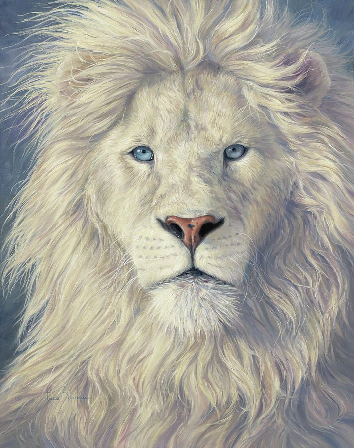 White Lion Painting - Mystical King by Lucie Bilodeau