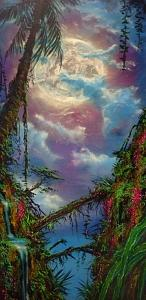 Moon Painting - Mystical Night In The Jungle by Victor Kirton