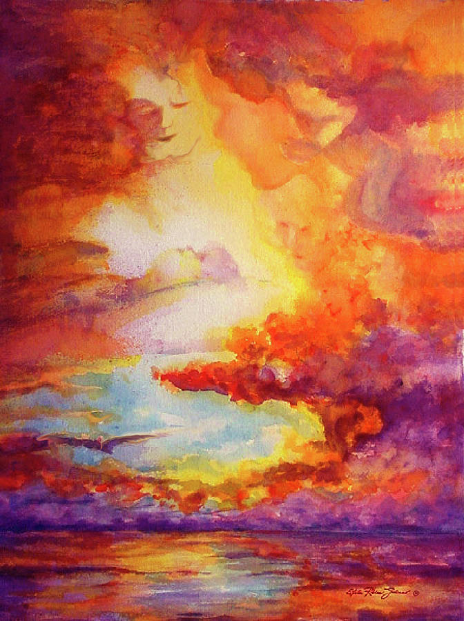Watercolor Paintings Painting - Mystical Sunset by Estela Robles