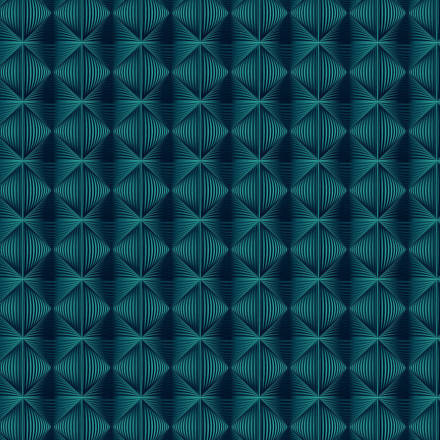 Mystical Teal Tiles Digital Art by Emese Horvath