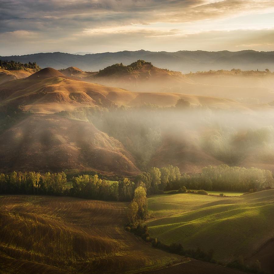 Landscape Photograph - Mystical Waving Fields Tuscany by Jarek Pawlak