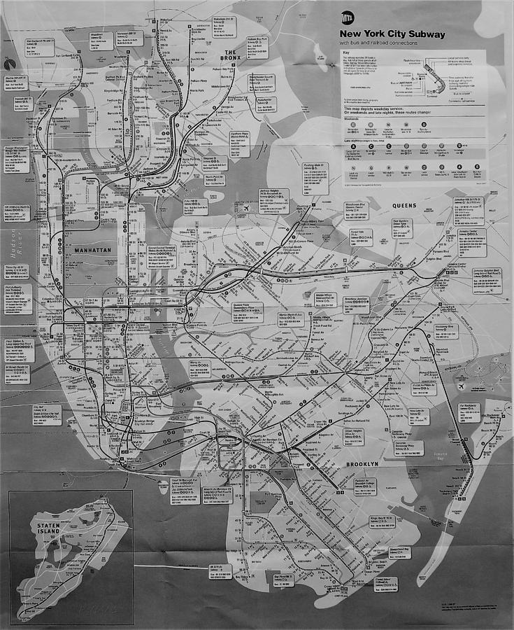 New York City Subway Map Black And White.N Y C Subway Map B W By Rob Hans